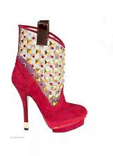 €650 NWB CESARE PACIOTTI Platform Heels Red Suede Leather Shoes  Sz US 7 EU37