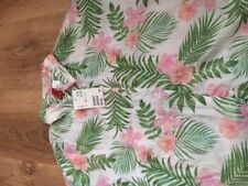 WOMENS/GIRLS SIZE 8 H&M COTTON WHITE GREEN PRINT SHIRT TAGGED 100% AUTHENTIC