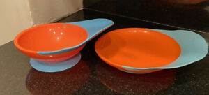 2 Piece Toddler BOWL & Plate WITH SPILL CATCHER - ORANGE/BLUE  - 9+ Month