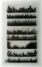 """Clear Stamps Lot (4""""x7"""") Fern and Grass Borders FLONZ 003 vintage rubber stamp"""