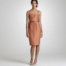 J CREW Orange Pink Sz 8 Sheath Dress 100% Slub Silk Polka Dot Sleeveless NEW