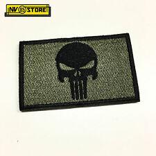 Patch Ricamata Skull Sniper Punisher Navy Seals 8 x 5 cm Militare OD con Velcrog