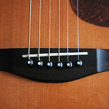 SET OF 6 HANDMADE EBONY ACOUSTIC GUITAR BRIDGE PINS WITH MOTHER OF PEARL INLAY