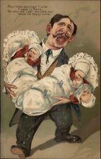 Overwhelmed Father w/ Triplet Babies Caricature Art PFB Postcard c1910