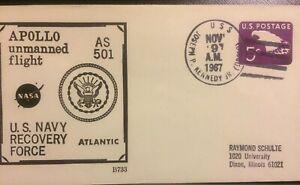 NAVAL SPACE BECK COVER #B733 :APOLLO AS 501 USS JOSEPH P. KENNEDY NOV 9,1967