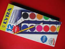 Neu LYRA 12 Deckfarben Wasserfarben Malkasten Farbkasten Weiß + Pinsel