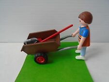 Playmobil Little Boy and A Wheel Barrow. Very Good Condition. Ship Fast