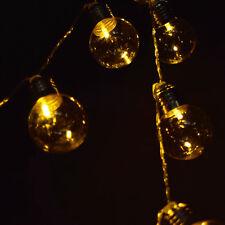 10 LED Warm White Hard Plastic Light Bulb Shaped String Lights, 5.5 FT, Battery
