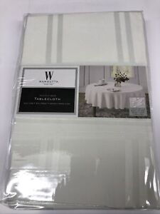 """Wamsutta Microfiber Spill Proof Tablecloth White 90"""" Round Brand New (A)"""