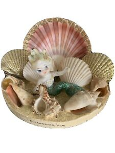 Vintage Mermaid Shell Art Souvenir Clearwater Florida Kitsch Untested Light
