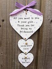 Segno di placca in legno personalizzato Heart Wedding Damigella d'Onore Grazie regalo