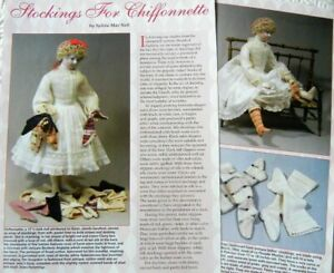 Original Uncut Stockings Pattern for Antique French Chiffonnette Doll 17-18""