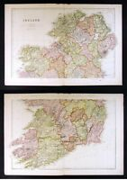 1882 Blackie Atlas Map x 2  North & South Ireland - Dublin Londonderry Killarney