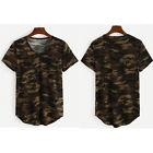 Mujer Casual Cuello En V Camuflaje Camo Militar Top De Manga Corta Camiseta