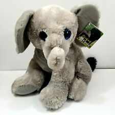 "Fiesta 14"" Sitting Elephant Plush Large Gray White Stuffed Jungle Animal Toy"