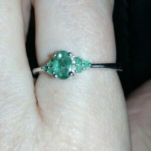 WOW Genuine 100% 0.47ct Luhlaza Emerald Sterling Silver Ring Size P - Q  WOW