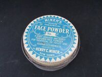 VINTAGE MINERS  NY Theatrical Make Up Face Powder 8 Oz Tin Unique! SET SHIPPING