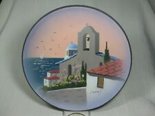 "Terra Cotta 11 1/4"" Wall Plate by Nikolas Hand Painted Greek Church Ocean Birds"