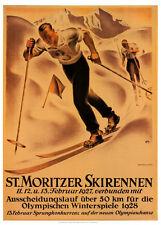 St. Moritz Switzerland CROSS-COUNTRY SKI RACING 1927/28 Vintage Poster Reprint