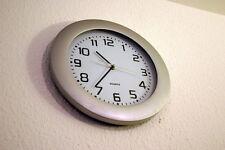 2 x Wanduhr Bahnhofsuhr Uhr Quartzuhr XXL im Silver Look, 35cm, Neu & OVP