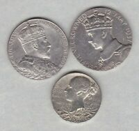 THREE SILVER COMMEMORATIVE MEDALS 1897/1902 & 1937 IN A USED CONDITION