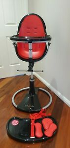 Bloom Fresco Highchair, Black With Red Seat Pad