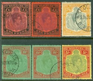 BERMUDA : 1938-53. Stanley Gibbons #118-21 All VF, Used w/ nice cancels Cat £412