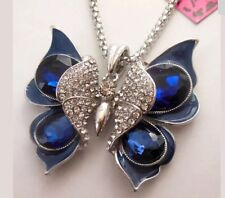 Betsey Johnson Necklace Butterfly Royal Blue Black Crystals Gold Enamel
