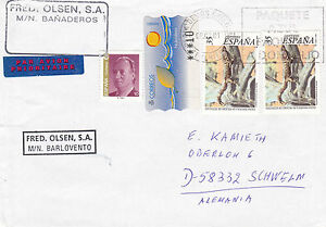 SPANISH FERRY MS BARLOVENTO A SHIPS CACHED COVER