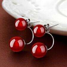Frauen rot  / schwarz Süßwasserperlen Ohr Bolzen baumeln Ohrring Geschenk