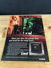 1990 VINTAGE 8X11 PRINT Ad FOR KMD GUITAR AMPS CLOSE GARAGE, HEAD FOR STAGE DOOR