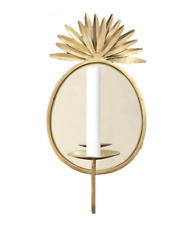 Gold Brass Pineapple Wall Candle Sconce Holder with Mirror by Bombay Duck