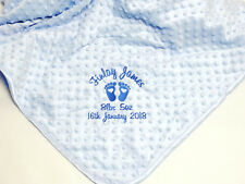Personalised Luxury Bubble Baby Boy Blue Blanket, Embroidered Birth Details