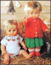 """Knitting Pattern 12-22"""" poupées vêtements * Cardigan, jupe, chaussures, chaussettes, Gilet, Culotte"""