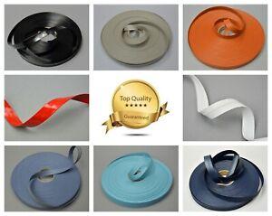 15mm Faux Leather Flat Ribbon Trimming Tape Strap Belt PU Vegan semi-matt glossy