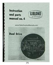 """LeBLOND Dual Drive 15"""" Lathe Instruction, Parts, & Maintenance Manual *71"""