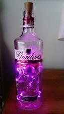 Gordon's Pink Gin Bottle Lamp. 20 pink LED Battery Lights. Christmas gift.