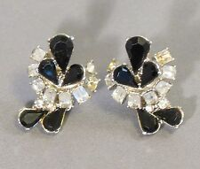 Crystals Cluster Clip-on bridal jewel Earrings Black Sparkling White Rhinestone