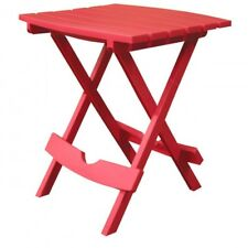Outdoor End Table Patio Side Weatherproof Deck Resin Side Quik Fold Camping Red