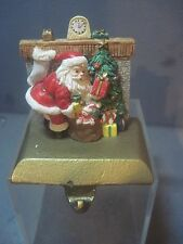 SANTA IN FRONT OF THE FIRE Stocking Holder Hanger GOLD BASE IN THE ORIGINAL BOX