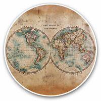 2 x Vinyl Stickers 7.5cm - World Hemispheres Vintage Style Map Cool Gift #14392