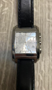 Burberry Chronograph Silver Dial Black Leather Men's Watch BU1564 Swiss Made