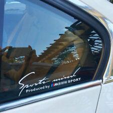 2 PC Silver White Vinyl Sports Mind Car Sticker Auto Window Decal Emblem For BMW