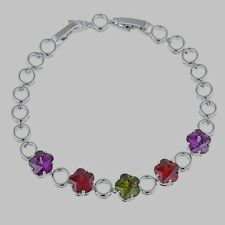 .10K White Gold Filled GF Coloured Stones Bracelet Bangle 17+2.5cm Long 8mm W