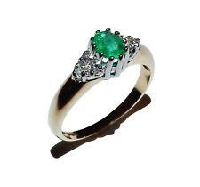 9ct Yellow Gold, Emerald & Diamond Trefoil Cluster Ring - UK Size: J