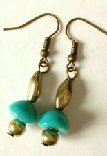 1 pr of vintage turquoise colour bead made into NEW EARRINGS (T2)