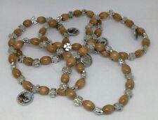 Set 5 bracciali San Francesco Assisi legno ulivo ovale elastico decina e croci