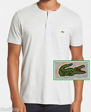 NWT Lacoste Men's Contemporary Fine Striped Heathered Henley Tee Size 2XL 8(EU)
