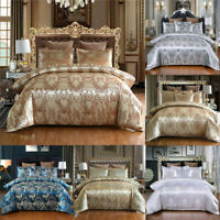 Luxury Jacquard Duvet Cover Set Comforter Cover King Size Gold Silver White Blue