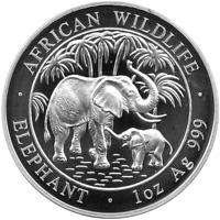 1 OZ Silber African Wildlife Elefant Silver Somalia 2007